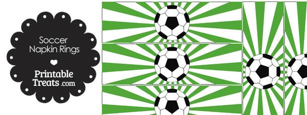Green Sunburst Soccer Party Napkin Rings