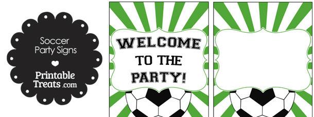 Green Sunburst Soccer Party Signs