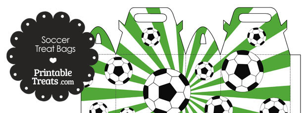 Green Sunburst Soccer Party Treat Bags