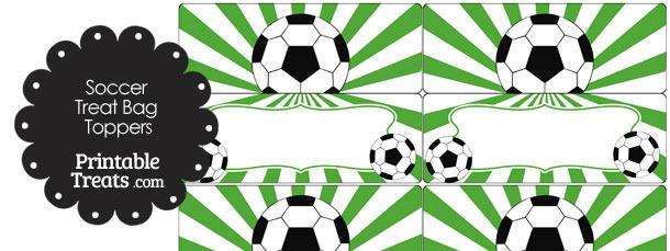 Green Sunburst Soccer Treat Bag Toppers