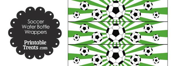 Green Sunburst Soccer Water Bottle Wrappers