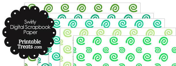 Green Swirls Digital Scrapbook Paper
