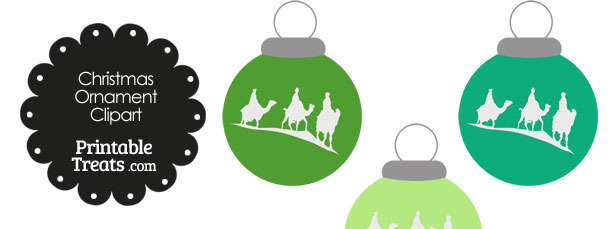 Green Three Wise Men Christmas Ornament Clipart