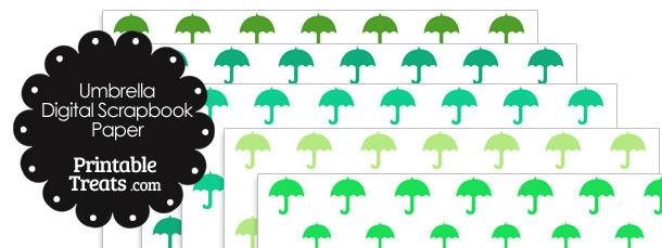 Green Umbrella Digital Scrapbook Paper