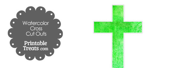 Green Watercolor Cross Cut Outs