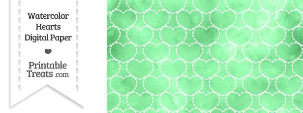 Green Watercolor Hearts Digital Scrapbook Paper