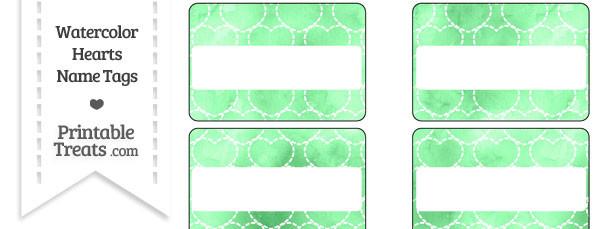 Green Watercolor Hearts Name Tags