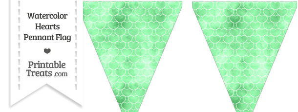 Green Watercolor Hearts Pennant Banner Flag