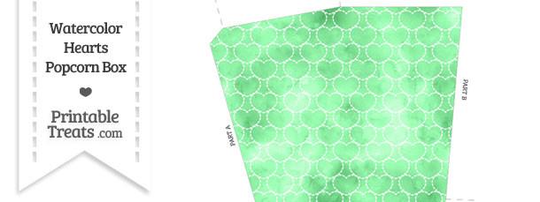 Green Watercolor Hearts Popcorn Box