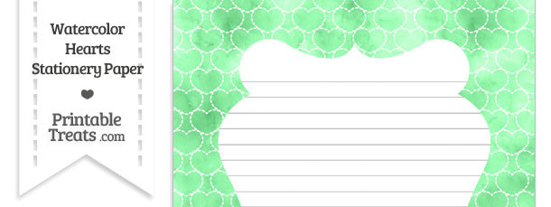 Green Watercolor Hearts Stationery Paper