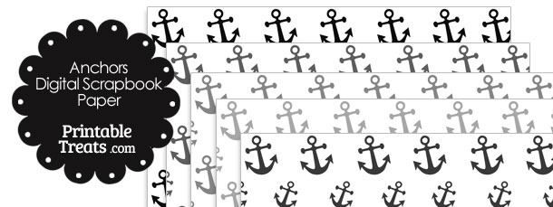 Grey Anchor Digital Scrapbook Paper
