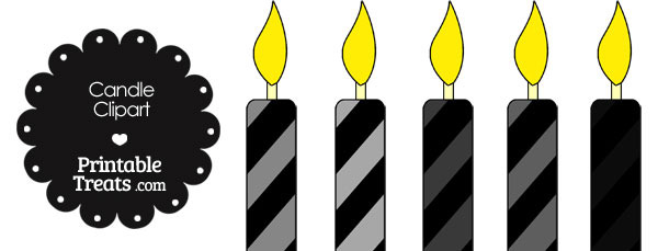 Grey and Black Candle Clipart
