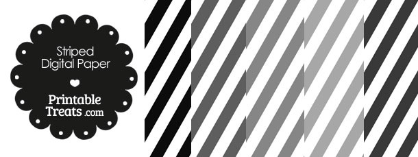 Grey and White Diagonal Striped Digital Scrapbook Paper