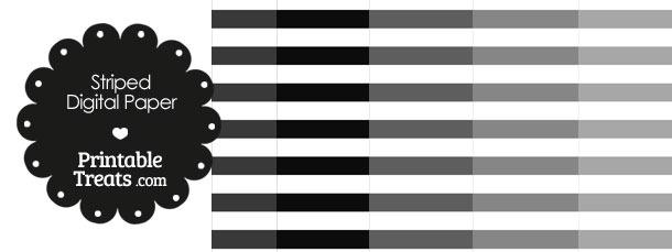 Grey and White Horizontal Striped Digital Scrapbook Paper