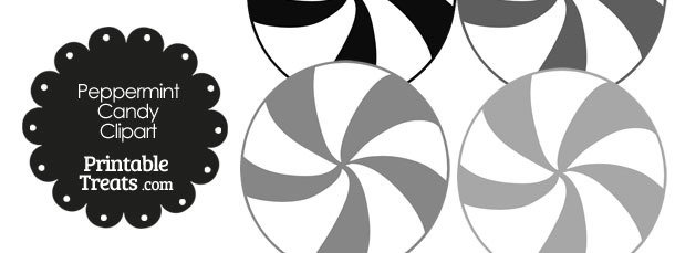 Grey and White Peppermint Candy Clipart