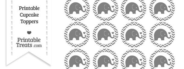 Grey Baby Elephant Chevron Cupcake Toppers