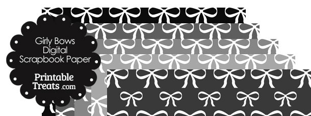 Grey Background Girly Bow Digital Scrapbook Paper