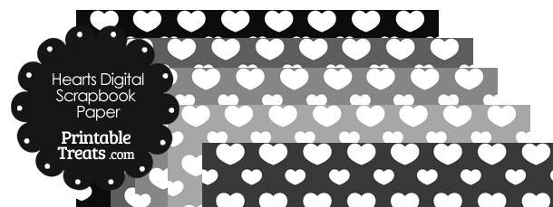 Grey Background Heart Digital Scrapbook Paper