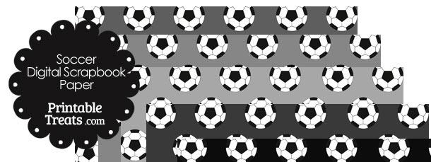 Grey Background Soccer Digital Scrapbook Paper
