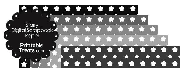 Grey Background Star Digital Scrapbook Paper