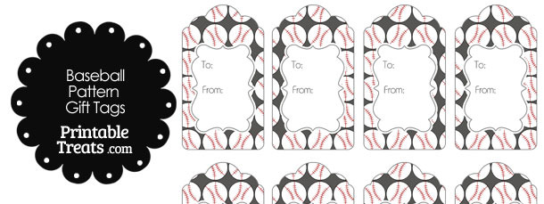 Grey Baseball Pattern Gift Tags