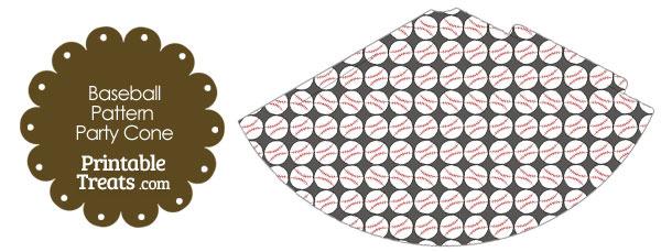 Grey Baseball Pattern Party Cone