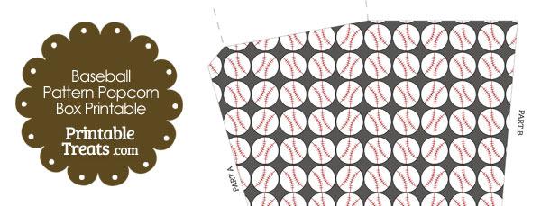 Grey Baseball Pattern Popcorn Box