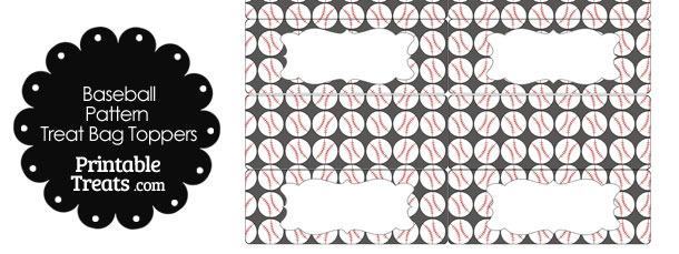 Grey Baseball Pattern Treat Bag Toppers