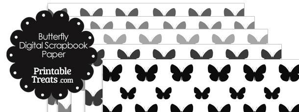 Grey Butterfly Digital Scrapbook Paper