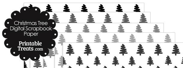Grey Christmas Tree Digital Scrapbook Paper