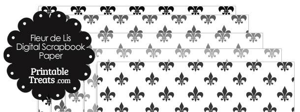 Grey Fleur de Lis Digital Scrapbook Paper