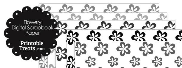 Grey Flower Digital Scrapbook Paper