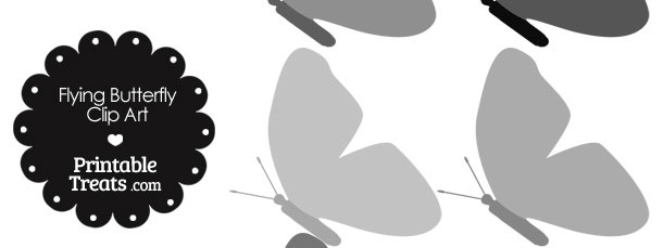 Grey Flying Butterfly Clipart