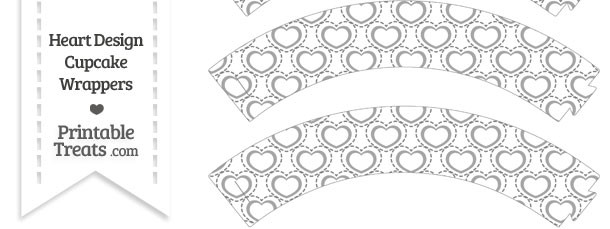 Grey Heart Design Cupcake Wrappers