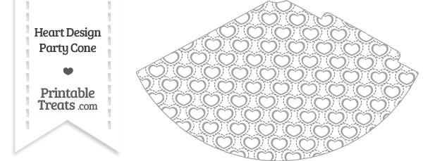 Grey Heart Design Party Cone