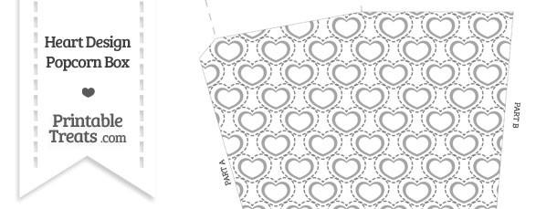Grey Heart Design Popcorn Box