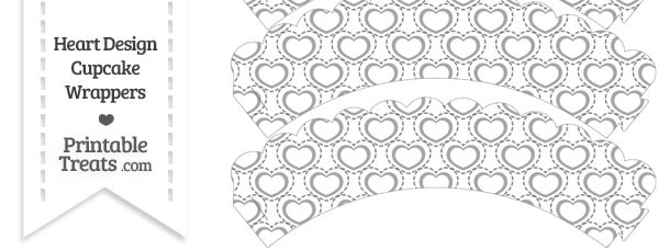 Grey Heart Design Scalloped Cupcake Wrappers