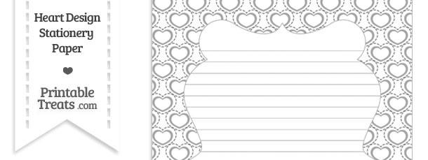 Grey Heart Design Stationery Paper