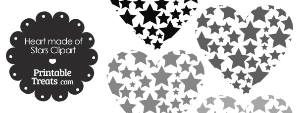 Grey Heart Made of Stars Clipart