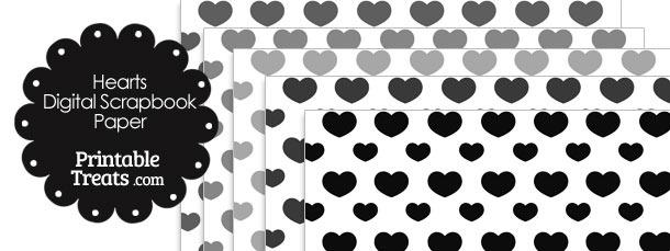 Grey Hearts Digital Scrapbook Paper
