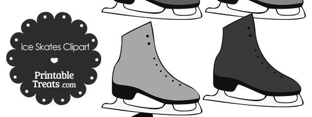 Grey Ice Skates Clipart