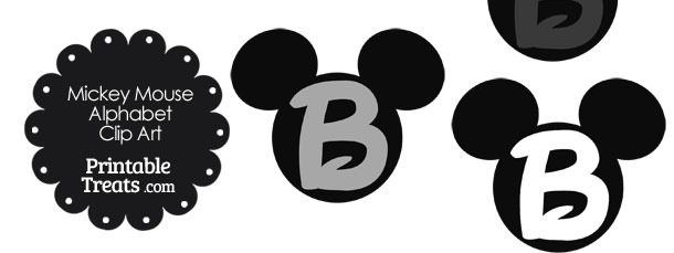 Grey Mickey Mouse Head Letter B Clipart