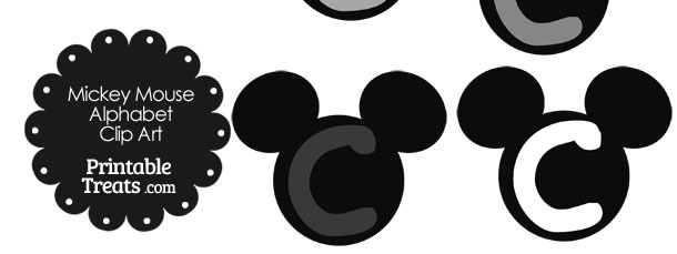 Grey Mickey Mouse Head Letter C Clipart