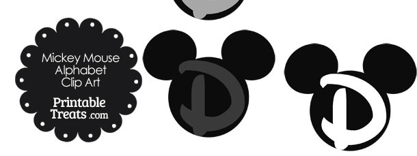 Grey Mickey Mouse Head Letter D Clipart