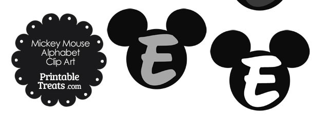 Grey Mickey Mouse Head Letter E Clipart