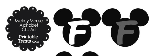 Grey Mickey Mouse Head Letter F Clipart