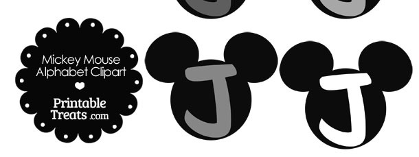Grey Mickey Mouse Head Letter J Clipart