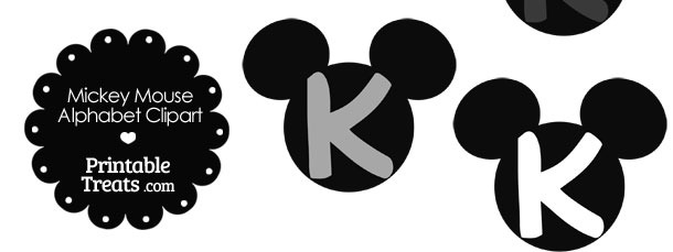 Grey Mickey Mouse Head Letter K Clipart