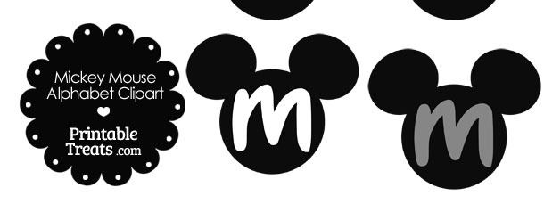 Grey Mickey Mouse Head Letter M Clipart