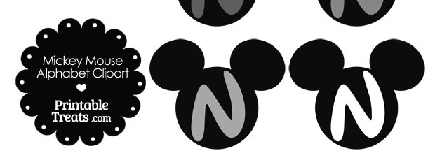 Grey Mickey Mouse Head Letter N Clipart